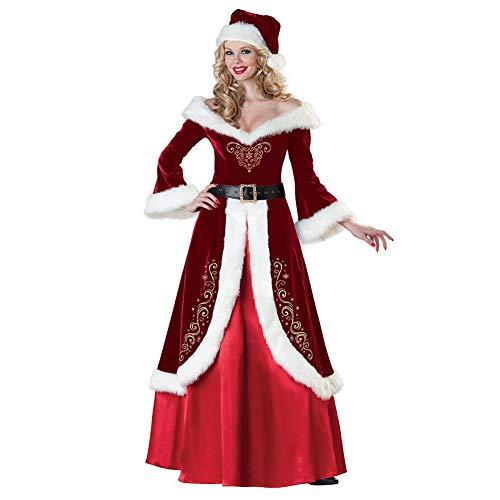 Weihnachtspär-Kostüme, Weihnachtsmann-Kostüme, Männer, Frauen, Plüsch-Uniform-Set für Weihnachten Cosplay Anzug Kleid Kostüm und Glocke Bart-Requisite, Weihnachts-Party-Zubehör L ()