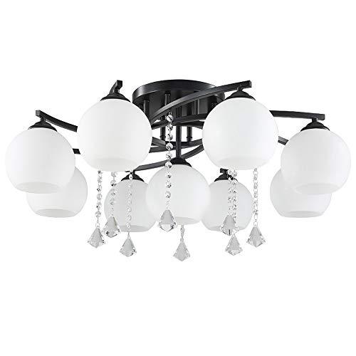 9 Flush-mount (SELMAL Vintage Chandelier, 9 Lights Semi Flush Mount Deckenleuchte mit Kristallanhänger, E27 Anhänger Liaght mit weißem Glasschirm für Schlafzimmer)