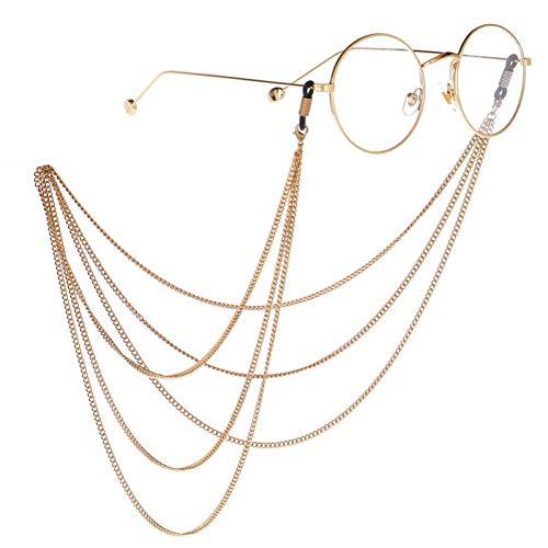 LIUYAWEI DREI-Schicht-Brillenhalter Ketten Gold Link Sonnenbrillen Kette Lanyards Retro Brillen Halsband Strap Eyewear Zubehör