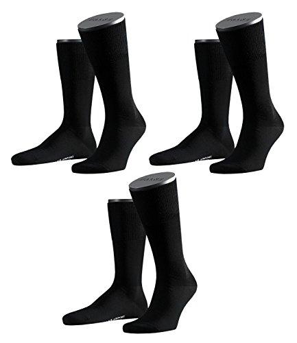 FALKE Herren Airport Socken Strümpfe 14435 3 Paar, Farbe:Schwarz;Sockengröße:47-48;Artikel:14435-3000 black