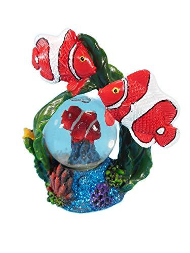 Schneekugel Clownfisch Fisch 11 x 9 cm Schüttelkugel Tier Figur Deko GG 6061 -