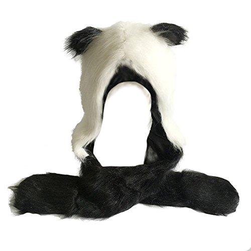 Honeystore Fell Mütze Damen Kapuzenschal Winter Plüschmütze Tiermütze Ohren mit Handschuhe Schal Kunstfell Panda (Prada Herren-köln)