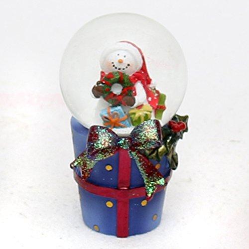 Bella e originale palla di vetro con neve. Disegno: Pupazzo di neve con corona, circa 8 x 5 cm/ Ø 4,5 cm