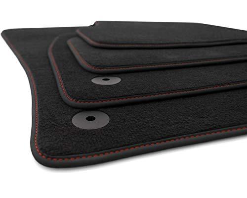 kh Teile Fußmatten Golf 7 VII 5G Original Premium Qualität Automatte 4-teilig Velours schwarz, Rote Ziernaht