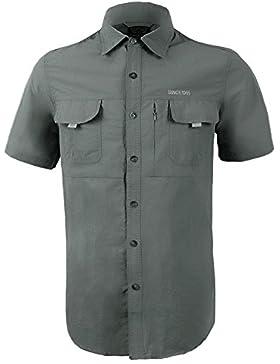 IKRR Camisas Secado rápido Manga Corta para Hombre (Gris #2, XXL/Busto 116cm/45.5