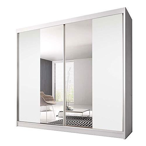 Idzczak Meble Schwebetürenschrank Claudia 13 233 mit Spiegel Kleiderschrank mit Kleiderstange und Einlegeboden Schlafzimmer- Wohnzimmerschrank Schiebetüren Modern Design (Weiß/Weiß + Spiegel) -