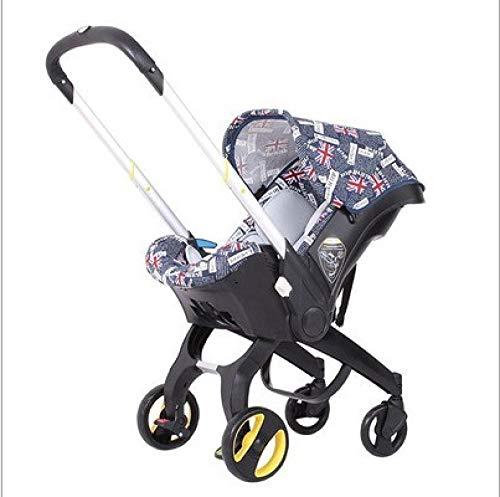 Velliceasay Kinderwagen Kombikinderwagen Buggy,4-in-1-Verstellgriff Auto-Sicherheitssitz Zwei-Wege-Markise für Neugeborene mit Korbhalterung,geeignet für 0-18 Monate,Farbe
