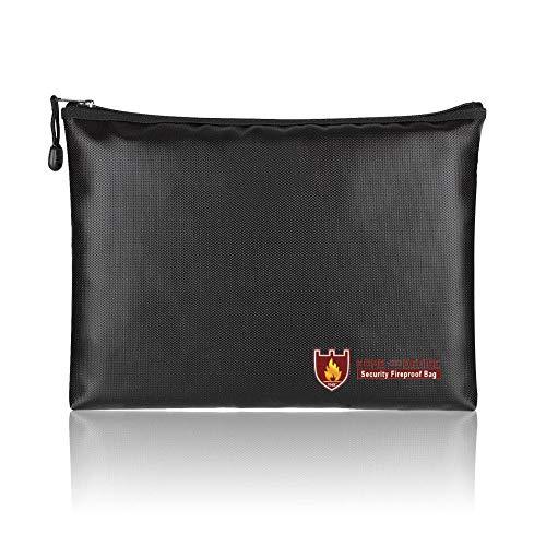 Keptfeet Feuerfeste Tasche mit Reißverschluss, wasserdicht, feuerfest, sichere Dokumententasche, feuerfeste Schutztasche für Geldbörse/Reisepässe/Wertsachen -