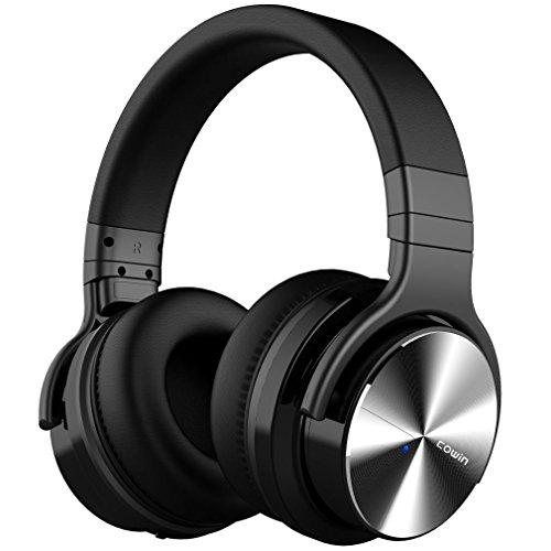 Cowin e7 pro active noise cancelling bluetooth cuffie con hi-fi bassi profondi con microfono tempo di riproduzione di 30 ore per lavoro di viaggio tv computer (nero)