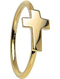 """20 Gauge 5/16"""" Solid 14k Yellow Gold Cross Hoop Ring"""