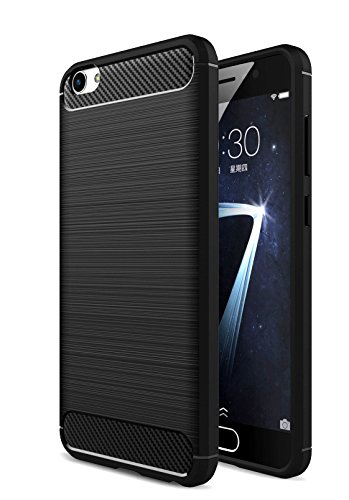 Bounceback ® [ For Oppo F3 ] Shock Proof Carbon Fiber Armor Soft Back Case / Cover – Black