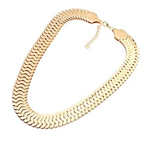 YAZILIND Jewelry Shiny Cut Light Golden Alloy Chunky Chain Choker Statement Necklace 19""