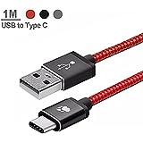 Cable USB C Nylon, BlitzWolf 1m Reversible USB 2,0 para USB C Cable Datos y Cargador para Nexus 5X 6P, OnePlus 2, Nokia N1, Xiaomi 4C, Zuk Z1, Apple Macbook (Rojo)