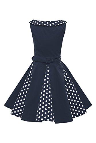 BlackButterfly Kinder 'Alexia' Vintage Polka-Dots Kleid im 50er-J-Stil (Nachtblau, 11-12 J / ()