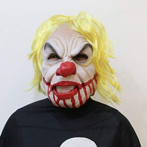 CharmShan Halloween mask,Halloween Masquerade Decoration Latex Yellow Hair Big Mouth Clown - Big Hair Kostüm