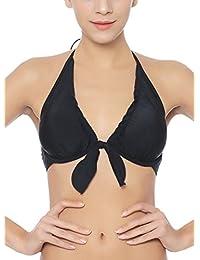 94e42494c8707 FUTURINO Women's Self-tie Front Halter Neck Push Up Triangle Bikini Top