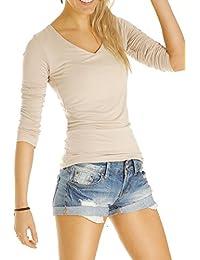 Bestyledberlin Damen Shirt, V-Ausschnitt Damenoberteile, Stretch Longshirt, Langarm Tops t31p