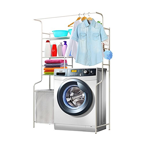 Gbf bagno scaffale cremagliera lavandino doccia angolare portabiancheria sporco cesto vestiti pavimento tipo bianco, 110 * 40 * 165 cm
