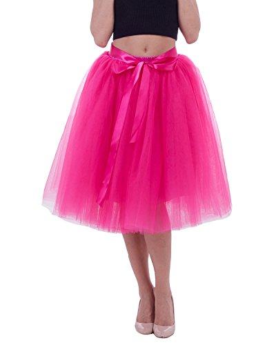 Tüll Knielang Tüllrock Tutu Rock Unterrock mit Gürtel Party Abschlussball Abend Formelle Rock Fuchsia (Halloween Kostüme Für Mädchen Im Alter Von 9 10 Jahren)