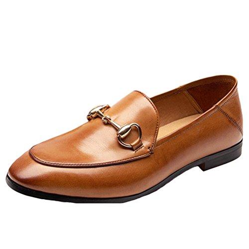 Vogstyle Mocassins Femmes Cuir à Boucle Derbies Chaussures Plates Cognac