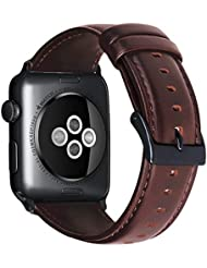 Armband für Apple Watch 42mm(44mm Series 4), Apple Watch Armband Leder Armband Vintage Echtleder Uhrenarmband für iWatch Series 1, Series 2, Series 3,Series 4, Apple Watch Sport Edition & Nike+
