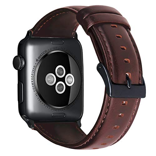 Armband für Apple Watch 42mm(44mm Series 4), Apple Watch Armband Leder Armband Wax Series Vintage Echtleder Uhrenarmband für iWatch Series 1, Series 2, Series 3, 4, Apple Watch Sport Edition & Nike+