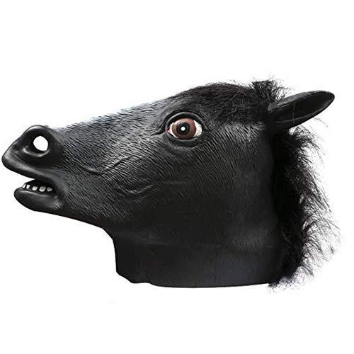 (QETU Halloween Tiermaske, Neuheit Kostümparty Latex Maske (Pferdekopf),Black)