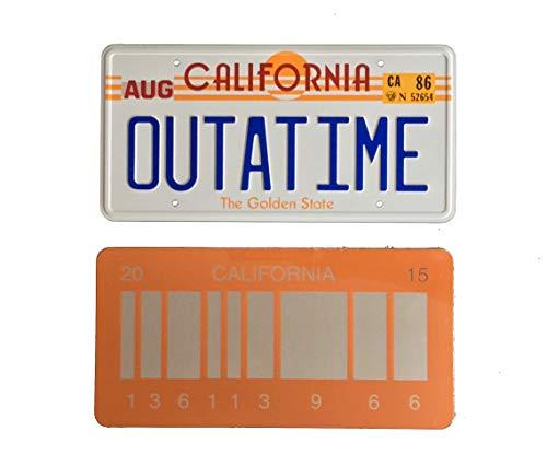 Super6props Outatime Zurück in die Zukunft 1 Prop Nummernschild und zurück in die Zukunft 2 Mirrored 2015 Barcode Nummernschild, wie auf Marty McFly und Doc Browns DMC-12 Delorean gesehen