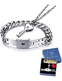 Pulsera y colgante para hombre y mujer, acero inoxidable, colgante en forma de llave, 45 cm, plata
