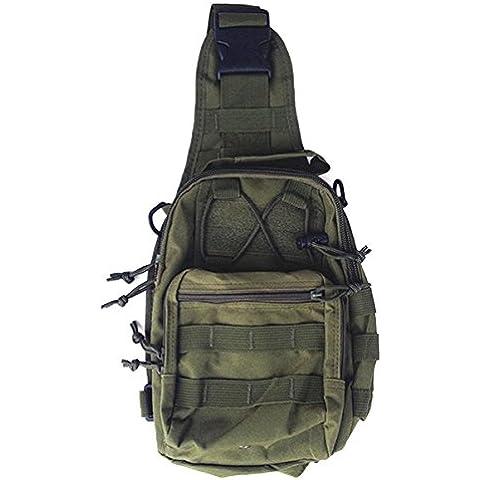 ZJstyle® Outdoor tattico MOLLE Sling Pack - Compatto e versatile pacchetto della spalla escursionismo, Chest Pack or Hand Carry Bag - 600D Oxford tessuto militare tattico Borsa a tracolla (Army Green)
