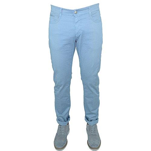 Pantalone Uomo Slim Fit Comfort Cotone Asquani TG 48 Celeste Microfantasia Jeans Chino