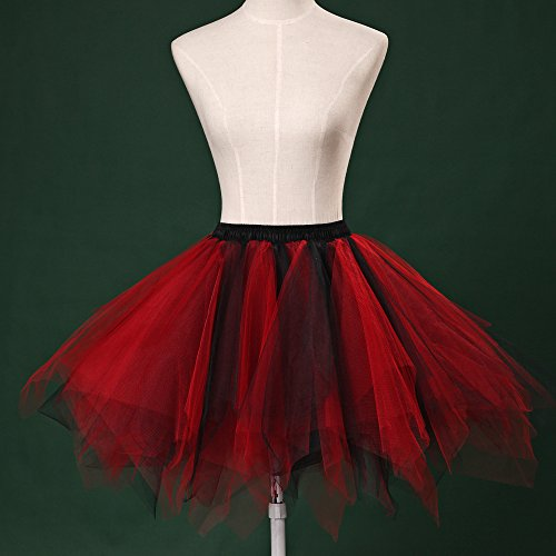 Honeystore Damen's Tutu Unterkleid Rock Abschlussball Abend Gelegenheit Zubehör Schwarz Und Rot