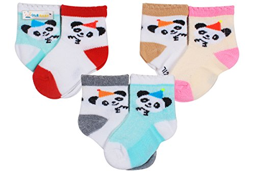 Ole Baby Designer Cotton Baby Assorted Crew Socks,High Quality Baby Socks Gift Set,Unisex,Bright Colored Socks - Baby Socks Pack of 6 (0-12 Months)