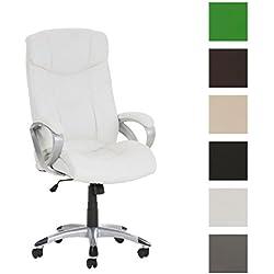 CLP Silla de oficina ALASKA, asiento de LUJO ajustable en altura con un revestimiento de cuero sintético blanco