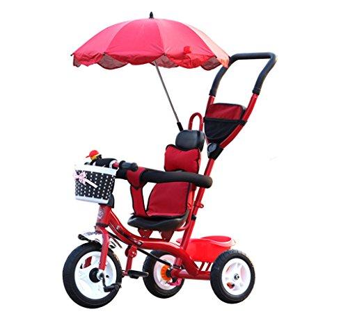 Chariots de tricycle pour enfants Carrières pour bébés Bicyclettes pour enfants 3 roues, vélo rouge (garçon / fille, 1-3-5 ans)
