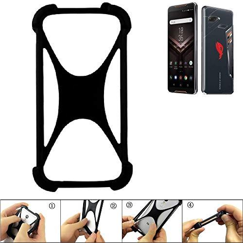 K-S-Trade Handyhülle für Asus ROG Phone Schutz Hülle Silikon Bumper Cover Case Silikoncase TPU Softcase Schutzhülle Smartphone Stoßschutz, schwarz (1x)