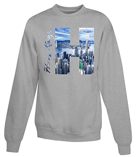 Billion Group | View Of Hong Kong | City Collection | Women's Unisex Sweatshirt Gris