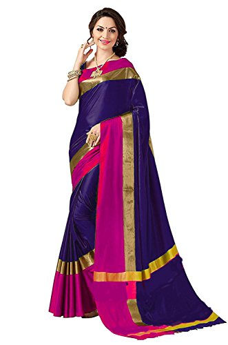 Perfectblue Women's cotton Silk Saree With Blouse Piece (VisvaVariation3) (blue)