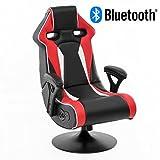 WOHNLING® Soundchair SPECTER II in Rot-Schwarz-Weiß mit Bluetooth | Racing Musiksessel mit eingebauten Lautsprechern | Multimediasessel für Gamer | 1.1 Soundsystem - Subwoofer | Music Gaming Sessel Rocker Chair