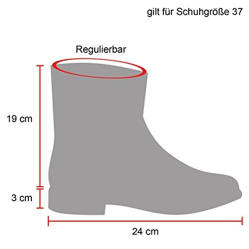 Schlupfstiefel Damen Zierperlen Stiefel Stiefeletten Warm Gefüttert Schwarz Schwarz Knopf