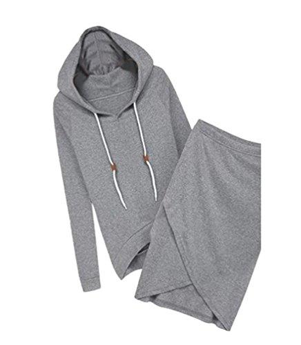 YiLianDa Sport Jumpsuit Damen Sport Pullover Set Beiläufig 2 Stück High Waist Oberteil Kurze Rock Grau S