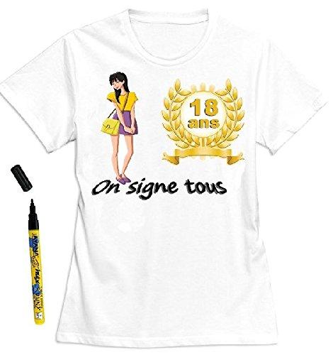 Mondial-fete - T-shirt femme 18 ans à dédicacer - Taille S