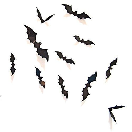 Schwarze Fledermäuse 12 Stück Dekoration Wandtattoo Halloween (Halloween-wandtattoos)