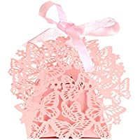 50Pcs Romantic Wedding Favors DIY Decoration Butterfly Cake Candy Gift Box with Ribbon by ZN