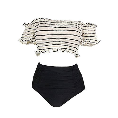 TianLeY Badeanzugbikini, trägerloser Streifen des reizvollen süßen Wortkragens kleine Bruststahlplatte spaltete zweiteiligen Badeanzugfrauen, m = uk8-10