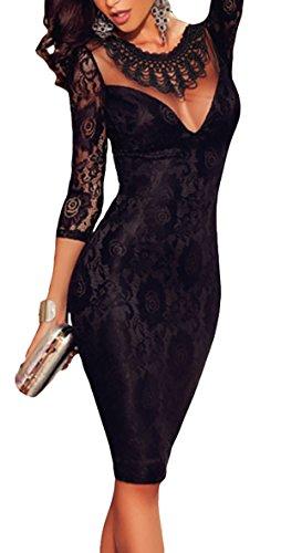 Abito donna vestito corto lunghezza ginocchio maniche tre quarti elegante ricamato Nero