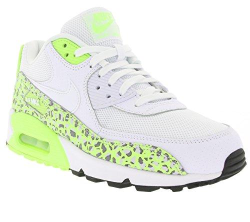 Nike Wmns Air Max 90 Prem, Chaussures de Sport Femme, Noir (Schwarz) Blanc (White / White-Ghost Green)