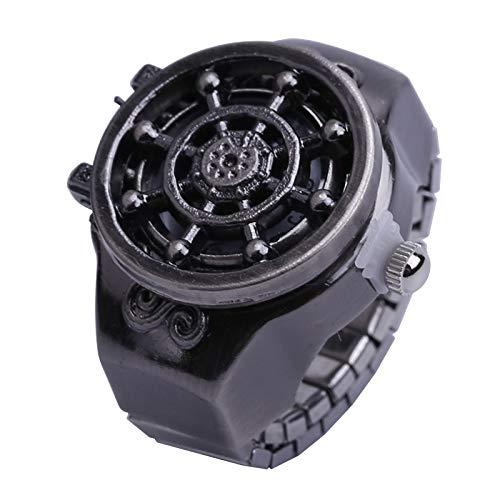FENGCLOCK Vintage Rudder Finger Uhr Clamshell Ring Uhr, antike Unisex einstellbar dehnbar Armband Finger Uhren Ring Uhr, Männer Retro Finger Uhr,gunblack (Männer Antiken Ring)