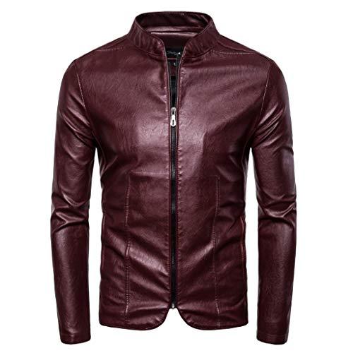 Giacca uomo con cerniera moda autunno inverno retro solid collar jacket pure long sleeved coat in pelle selvaggio casual comodo magliette