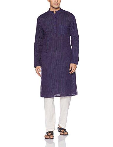 Svanik Men's Knee Long Cotton Kurta (SVLK1300_Small_Purple)